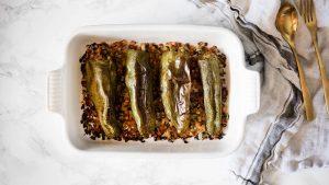 pimientos verdes rellenos de carne